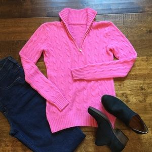 Pink Cashmere 1/4 Zip Cable Knit Sweater